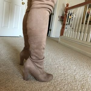 Shoes - Thigh high taupe boots with tie